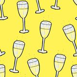 Christmas seamless pattern hand-drawn. A glass of champagne on a yellow background. Happy New Year vector illustration