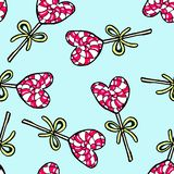 Christmas seamless pattern hand-drawn. New Year candy on a blue background.Happy new year. Lollipop drawing heart illustration design card decoration wallpaper vector illustration