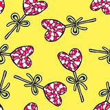 Christmas seamless pattern hand-drawn. New Year candy on a yellow background.Happy new year. Tree ball lollipop drawing heart illustration design card stock illustration