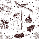 Christmas seamless pattern. With hand drawn snowman, bells, gift, and Christmas decorations Stock Photo