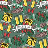Christmas seamless pattern hand drawn style holiday wallpaper decoration vector background Stock Images