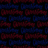 Christmas seamless pattern with handwritten text on red background. Vector illustration for New Year wrapping paper or textile des Royalty Free Stock Images