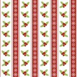 Christmas seamless pattern with holly berries and Royalty Free Stock Photo