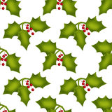 Christmas seamless pattern with holly berries on white Royalty Free Stock Photo