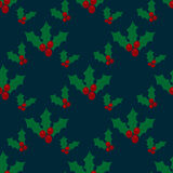 Christmas seamless pattern with Holly berry Royalty Free Stock Images