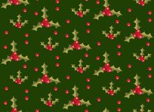 Christmas seamless pattern with holly. Xmas endless background. Holiday repeating texture, wallpaper, fabric. Vector. Illustration Royalty Free Stock Photos