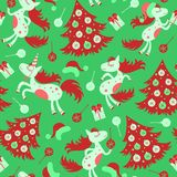 Christmas seamless pattern horse. And for the new year Stock Photo