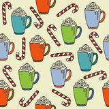 Christmas seamless pattern with hot chocolate mugs and candy can royalty free illustration