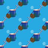 Christmas seamless pattern with hot cocoa, candy cane and cookie Royalty Free Stock Photos