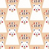 Christmas seamless pattern with image of a bear. In Scandinavian style. Vector illustration Stock Photography