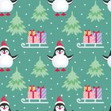 Christmas seamless pattern. With the image of cute penguins. Children`s vector background Stock Photos