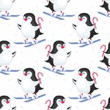Cute penguins seamless pattern Stock Images