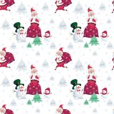 Santa and snowmen pattern. Christmas seamless pattern with the image of Santa Claus and snowmen in cartoon style. Vector colorful background Royalty Free Stock Image