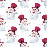 Funny snowmen seamless pattern. Christmas seamless pattern with the image of snowmen in cartoon style. Vector colorful background Stock Photos