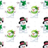 Large and small snowmen. Christmas seamless pattern with the image of snowmen in cartoon style. Vector colorful background Royalty Free Stock Photos