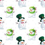 Large and small snowmen. Christmas seamless pattern with the image of snowmen in cartoon style. Vector colorful background Royalty Free Stock Photography