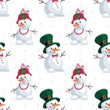 Snowmen a gentleman and lady. Christmas seamless pattern with the image of snowmen in cartoon style. Vector colorful background Stock Photos