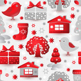 Christmas seamless pattern. Include tree, house, bird, gift. Vector Christmas seamless pattern. Include tree, house, bird, gift sock and snowflake Royalty Free Stock Photo