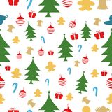 Christmas seamless pattern isolated over white hand draw elements, xmas pine tree doodle.Tree, gifts, decorations, holly, bell, co stock illustration