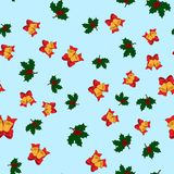 Christmas seamless pattern with jingle bells, and holly leaves on light blue background,  Stock Photos