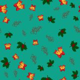 Christmas seamless pattern with jingle bells, holly leaves and merry christmas lettering on green background,  Royalty Free Stock Photo
