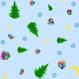 Christmas seamless pattern on light blue background. Vector illustration Royalty Free Stock Image