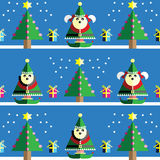 Christmas Seamless pattern with male and female elf  with  gifts with ribbon, snow,  Xmas trees with  pink, blue, orange lights an Stock Photography
