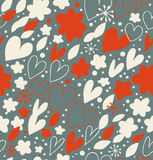 Christmas seamless pattern with many cute details. Hand drawn doodle background with hearts and flowers. Ornate damask texture.  vector illustration