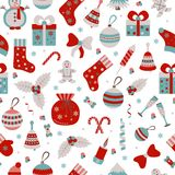 Christmas seamless pattern with many winter doodle toys Stock Photos