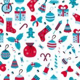 Christmas seamless pattern with many winter doodle toys Royalty Free Stock Photo