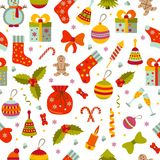 Christmas seamless pattern with many winter doodle toys Royalty Free Stock Images
