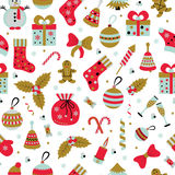Christmas seamless pattern with many winter doodle toys Stock Photo