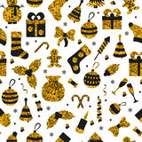 Christmas seamless pattern with many winter golden toys. Vector illustration Royalty Free Stock Images