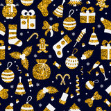 Christmas seamless pattern. With many winter golden toys. Vector illustration Royalty Free Stock Images