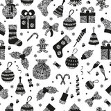 Christmas seamless pattern with many winter silver toys. Vector illustration Stock Photo