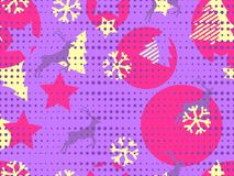 Christmas seamless pattern memphis with snowflakes and deer. Points in the style of pop art. Geometrical figures. Vector. Illustration Royalty Free Stock Photo