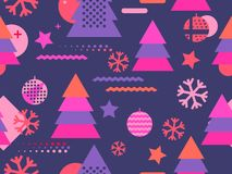 Christmas seamless pattern memphis with snowflakes and fir-trees. Great for brochures, promotional material vector illustration