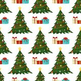 Christmas seamless pattern Merry Christmas and Happy New Year winter holiday background decorative paper vector. Illustration. Festive textile xmas abstract Stock Photography