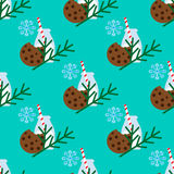 Christmas seamless pattern with milk, cookie and branch of Christmas tree Royalty Free Stock Images