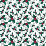 Christmas seamless pattern with mistletoe. Vector New Year wrapping paper or textile design. Stock Images