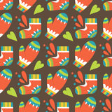 Christmas seamless pattern with mittens and socks Royalty Free Stock Image