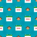 Christmas seamless pattern with monkey and calendar. On blue background Stock Photography