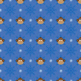 Christmas seamless pattern with monkeys. And snowflakes Royalty Free Stock Photography