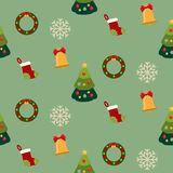 Christmas seamless pattern with new year holidays symbols. Christmas seamless pattern with new year winter holidays symbols. Snowflakes, socks, tree Royalty Free Stock Photo