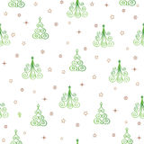 Christmas Seamless Pattern with New Year Tree, Snow and Stars. H Royalty Free Stock Photo