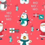 Christmas seamless pattern with penguins and boxes. , royalty free illustration