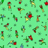 Christmas seamless pattern with people with gifts and christmas Royalty Free Stock Photos