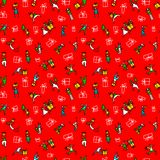 Christmas seamless pattern with people with gifts and christmas Royalty Free Stock Photography