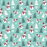 Christmas Seamless Pattern With Pine Tree And Snowman Winter Holidays Ornament Wrapping Paper Background Concept. Illustration Stock Photography