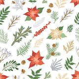 Christmas seamless pattern with plants and flowers. Vector card with poinsettia, holly berries, fir and pine branches